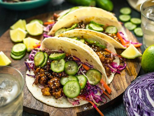 Korean-Inspired Crispy Tofu Tacos With Cabbage-Lime Slaw Recipe