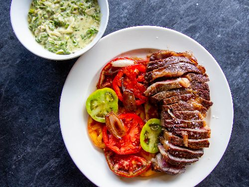 Butter-Basted Steak With Creamed Shishitos and Tomatoes Recipe