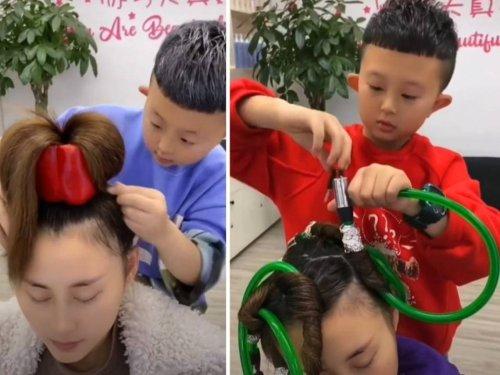 Un niño de China sorprende por sus habilidades de peluquero con peinados imposibles