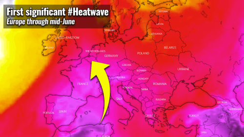 The first significant heatwave develops across parts of Europe through mid-June, followed by severe weather potential late next week
