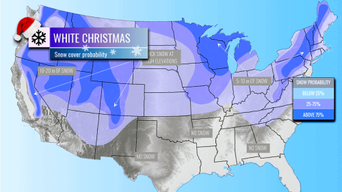 White Christmas probability now increases across the United States, followed by more cold, as a new massive Arctic blast heads for the East Coast