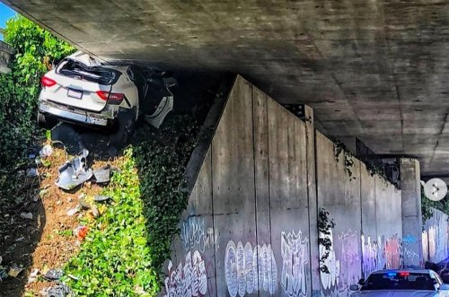 Maserati Attempting to Flee From CHP Pursuit In Oakland Launches Up and Under Overpass In Crazy Crash