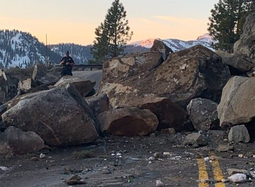Large Rockslide Cuts Off US-50 Route Into South Lake Tahoe