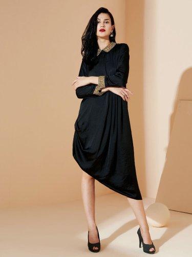 Black Beaded Collar Dress