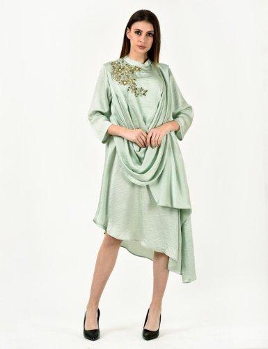 Mint Michelle Drape Dress