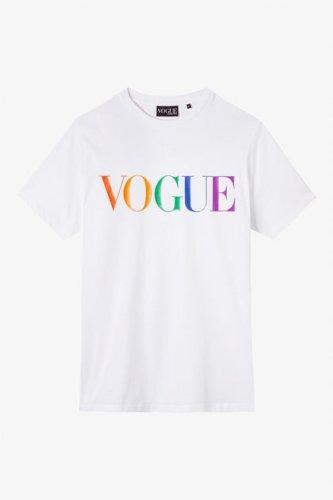 Acquista la T-shirt bianca con logo VOGUE colorato