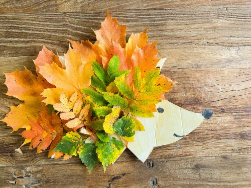 Einfache Bastelideen für kleine Kinder im Herbst mit Laub