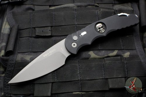 Protech Tactical Response 4 Black Handle with Bruce Shaw Sterling Silver Skull Blasted Blade Auto Knife TR-4.59