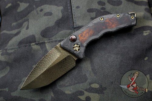 Heretic Knives Custom Medusa OTS Auto Carbon Fiber with Tanto Bronzed Ball Bearing Damascus with Desert Ironwood Inlays SN 10