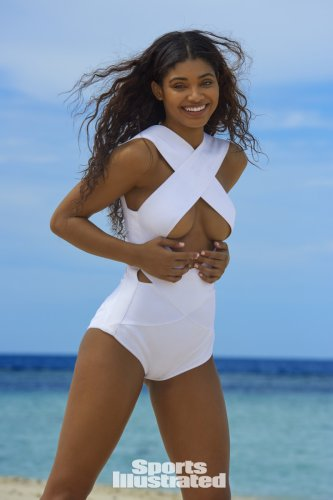 Danielle Herrington can't stop dancing on set for SI Swimsuit!