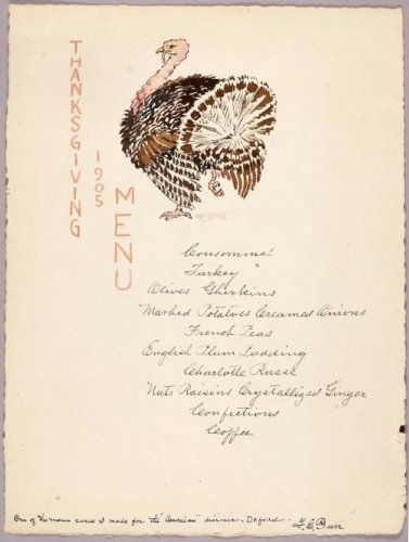 1905 Thanksgiving Menu