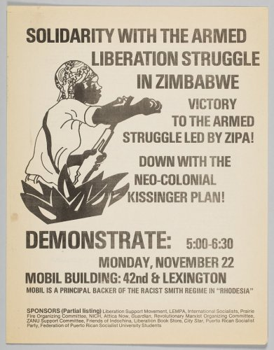 Flyer advertising a demonstration in solidarity with Zimbabwean liberation