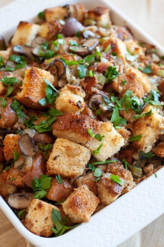 Brioche Stuffing with Mushrooms and Bacon