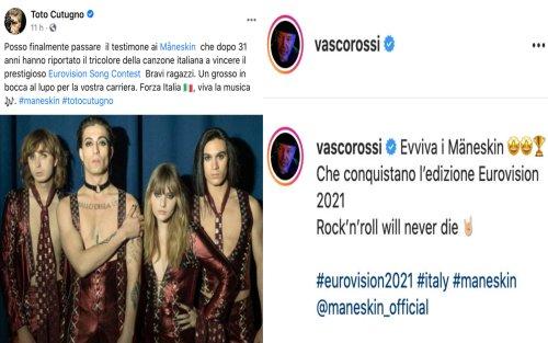 Eurovision Song Contest, i Vip sui social entusiasti per i Maneskin