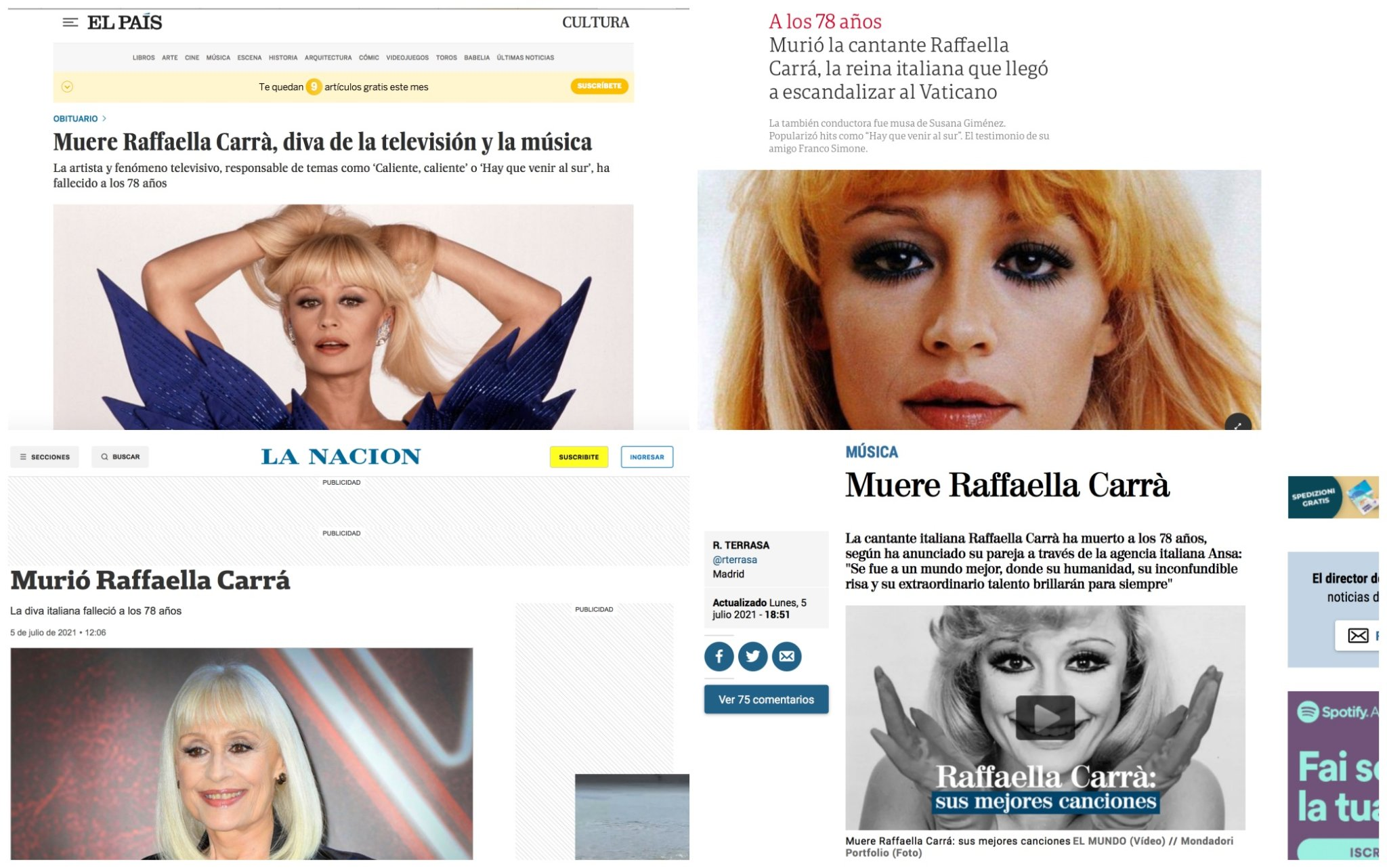 Raffaella Carrà, la notizia della morte nei media stranieri. FOTO