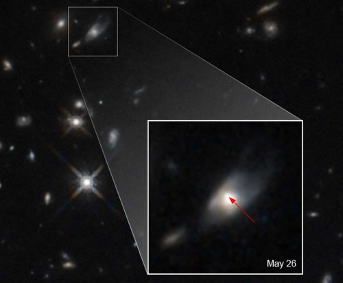 Hubble Space Telescope observes unexplained brightness in a distant galaxy