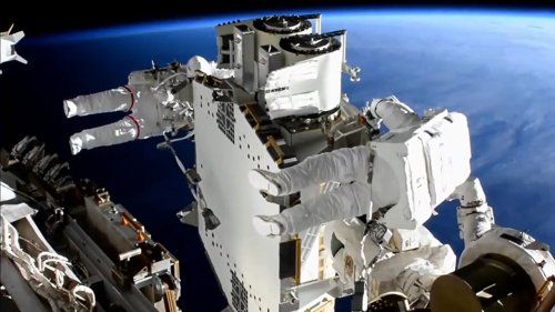 NASA astronauts complete installation of the first roll out solar array