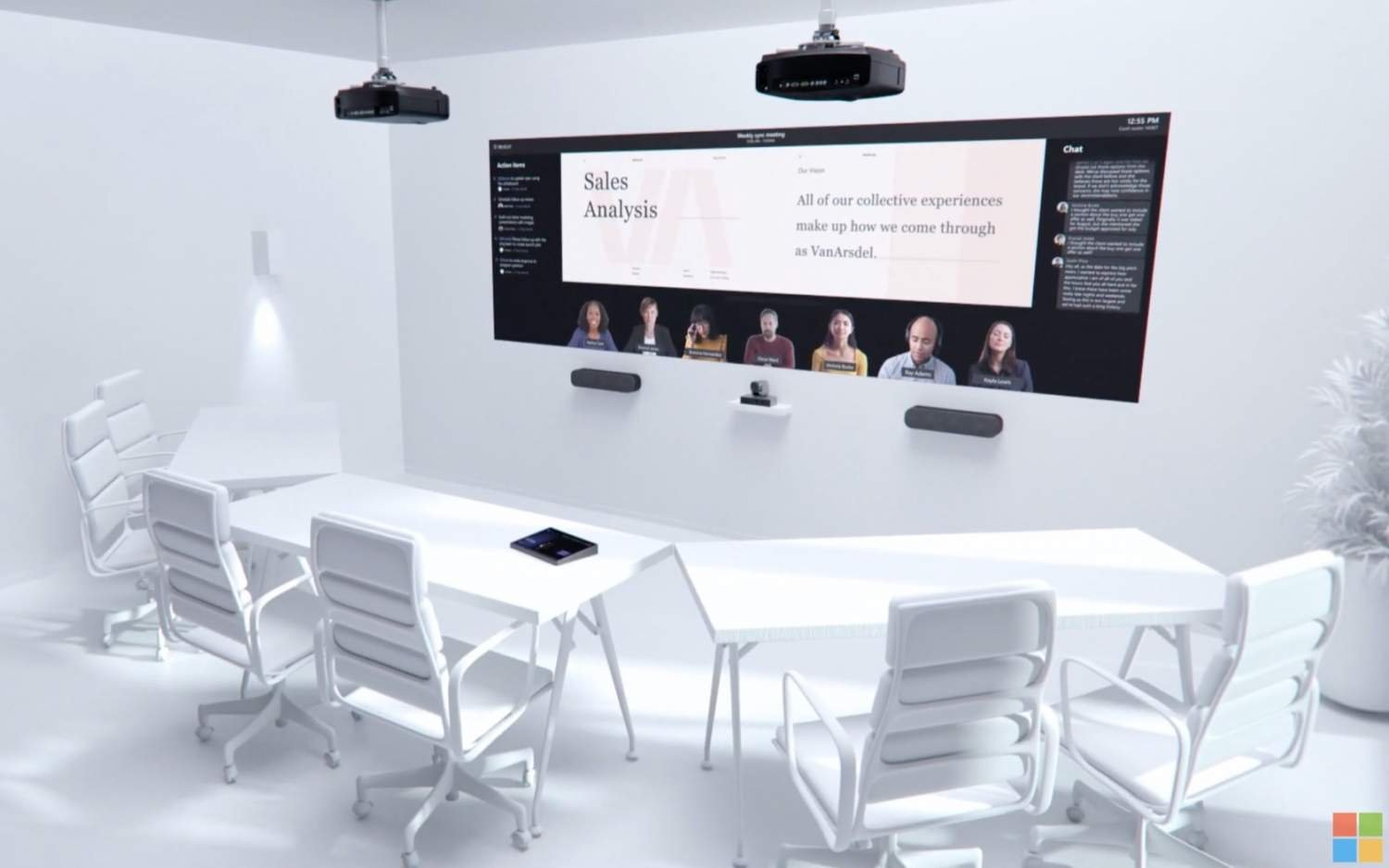 Microsoft's hybrid office vision involves big faces and vaccine verification