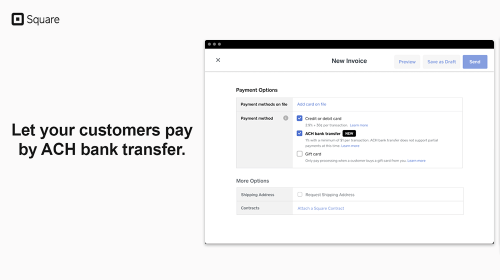 Square Offers ACH Payments for Big Ticket Purchases, Client Payments