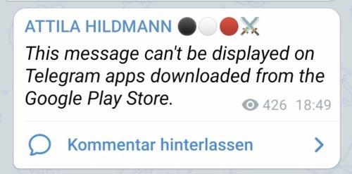 Seltener Vorgang: Apple und Google machen Nachrichten von Attila Hildmann bei Telegram unlesbar