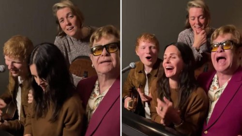Ed Sheeran, Elton John and Courteney Cox sing Phoebe's version of 'Tiny Dancer' for Lisa Kudrow
