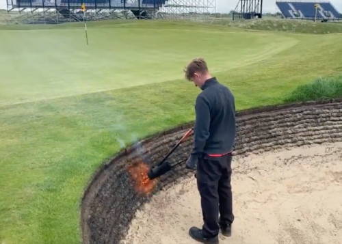 British Open 2021: Watch this Royal St. George's greenkeeper use a flamethrower to get rid of 'unwanted growth'