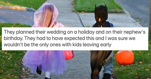 Man asks if he was wrong to leave brother's Halloween wedding early for son's birthday.