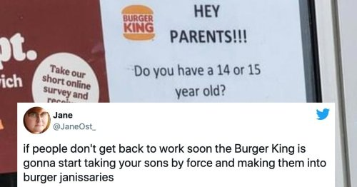 People are roasting Burger King for asking parents of 14-year-olds to have them apply.