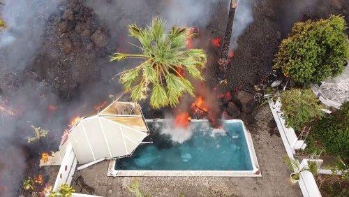 Vulkanausbruch auf La Palma: Drohnenaufnahmen zeigen Lavastrom