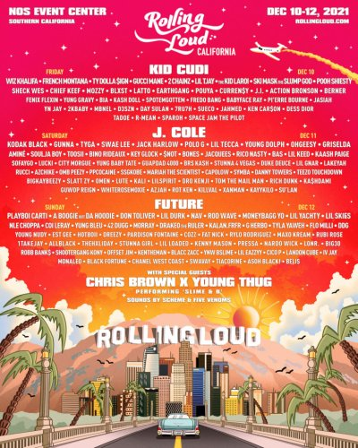 Rolling Loud California Lineup Features Kid Cudi, J Cole, Future and Almost Every Other Rapper