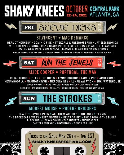 Stevie Nicks, The Strokes and Run The Jewels to Headline Atlanta's Shaky Knees Festival