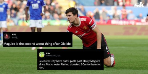 """""""Give me a proper captain"""" - Manchester United fans accuse club of 'donating £80m' after Harry Maguire's dismal display against Leicester City"""
