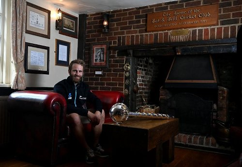 WTC Final: New Zealand skipper Kane Williamson poses with ICC Test Championship mace