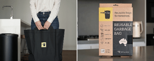 Washable, reusable rubbish bags replace single-use bin liners