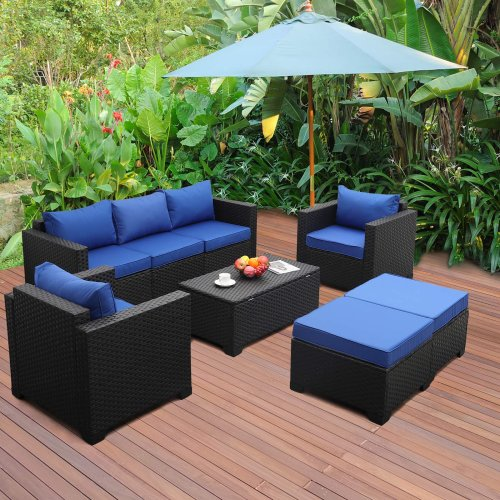 Six-Piece Patio Wicker Furniture Set