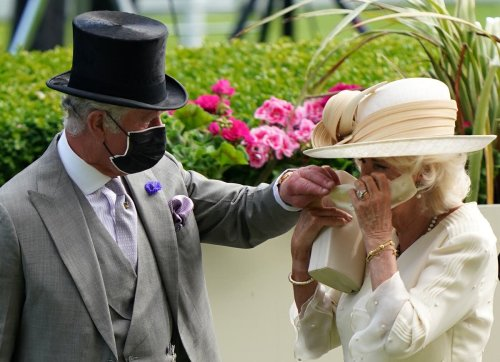 Gallant Charles helps Camilla put on her mask