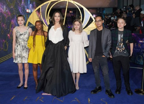 Angelina Jolie supported by her children on Eternals red carpet