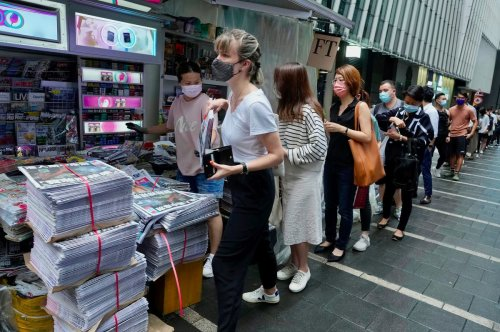 Hong Kong's Apple Daily sells out by 8.30am as people queue to buy final print edition