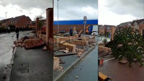 'Mini tornado' hits UK town causing damage to houses and cars