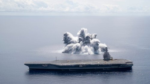 US navy tests aircraft carrier with massive explosion near Florida