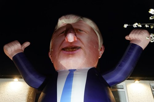 Inflatable Boris Johnson erected by Hartlepool business group