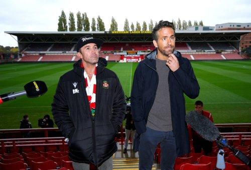 Ryan Reynolds and Rob McElhenney mark Wrexham visit with gin shots