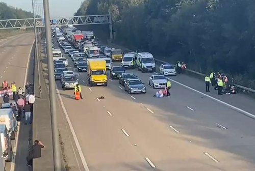 Insulate Britain protesters charge past police onto M25 carriageway