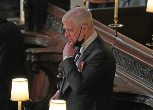 Sombre Andrew cuts lonely figure at Duke of Edinburgh's funeral
