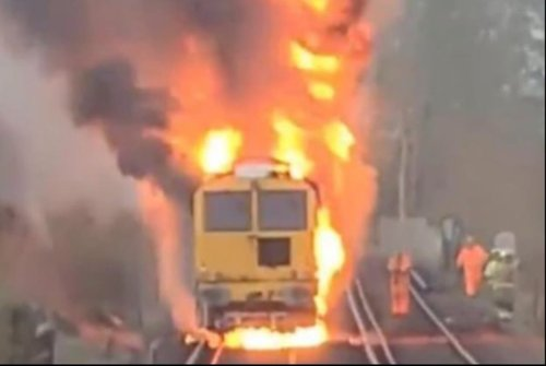 Horror as train bursts into flames in Kent