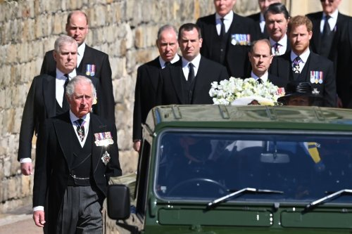 What medals did members of the royal family wear at Philip's funeral?