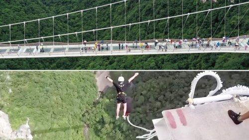 Wer traut sich den Bungee-Jump von Chinas höchster Glasboden-Brücke zu?