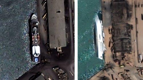 Vor einem Jahr: Satellitenbilder von Beirut zeigen das volle Ausmaß der Zerstörung