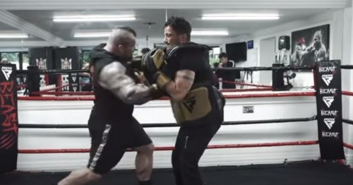 Watch as Eddie Hall floors Peter Andre with a huge punch