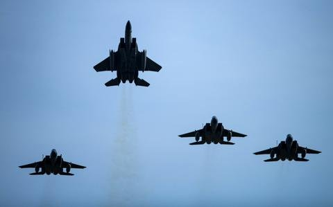 Missing man formation over RAF Lakenheath remembers pilot who died in F-15 crash